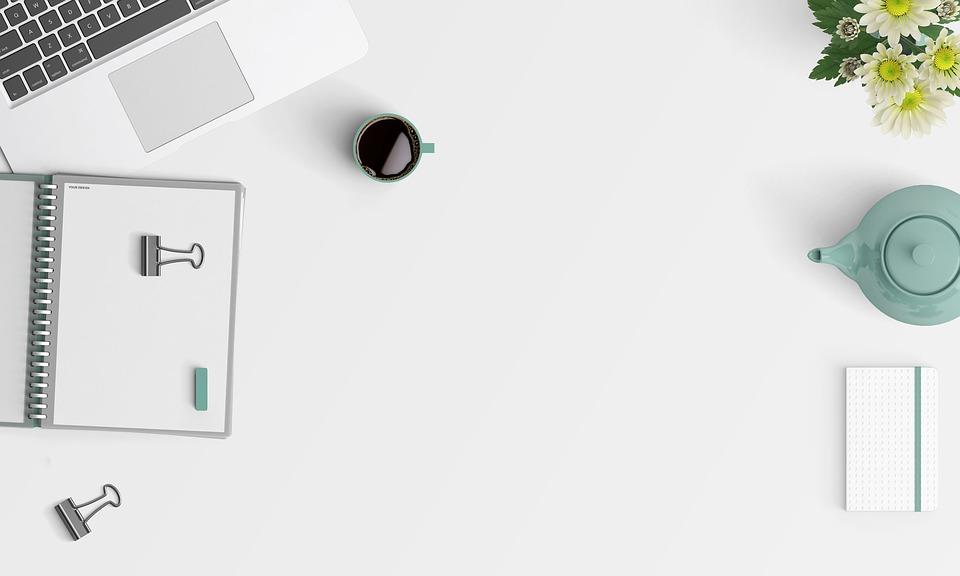 デスクトップ 片付ける クリーン モックアップ ホワイト ブログ ノートブック デザイン