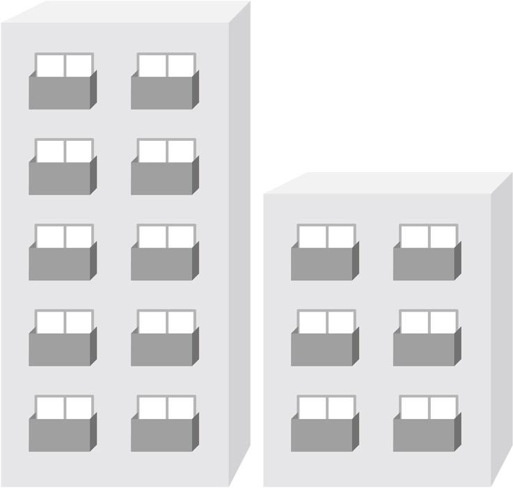 2棟のマンション