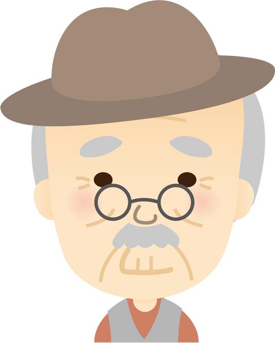 帽子を被るおじいさん