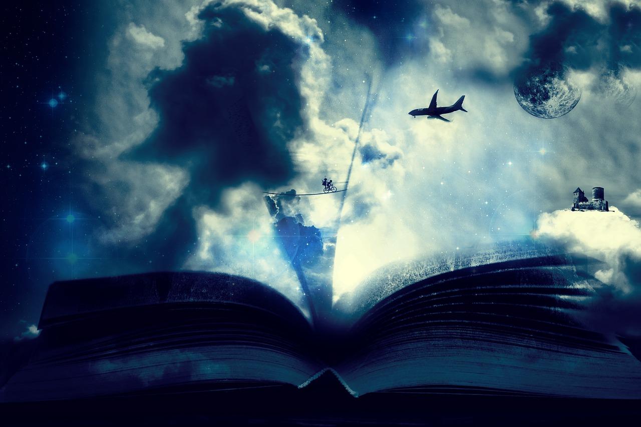 ファンタジー フォト モンタージュ 航空機 本 読書 夢 想像力
