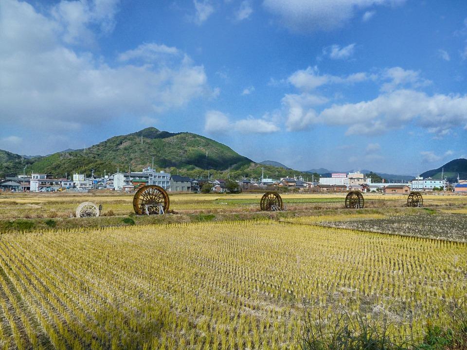 日本 風景 風光明媚な ファーム 農村 山 空 雲 自然 外 国 田舎