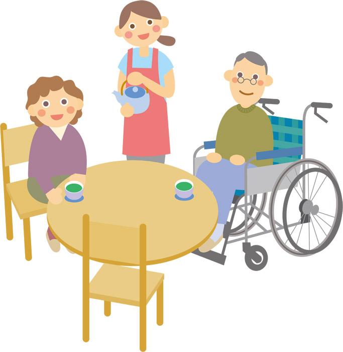 お茶の時間の老人ホーム