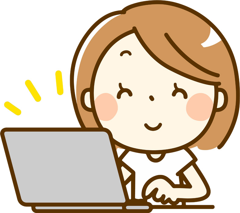 ノートパソコンでインターネットを楽しむ女性